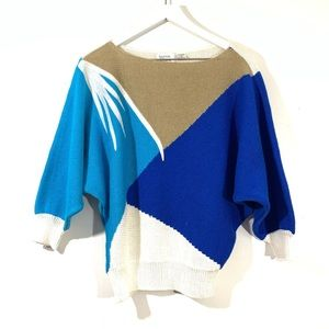 Vintage Blue & Tan Graphic Dolman Sleeve Sweater